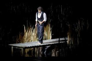 Handout photo shows tenor Kaufmann performing during a rehearsal at the La Scala opera theatre in Milan
